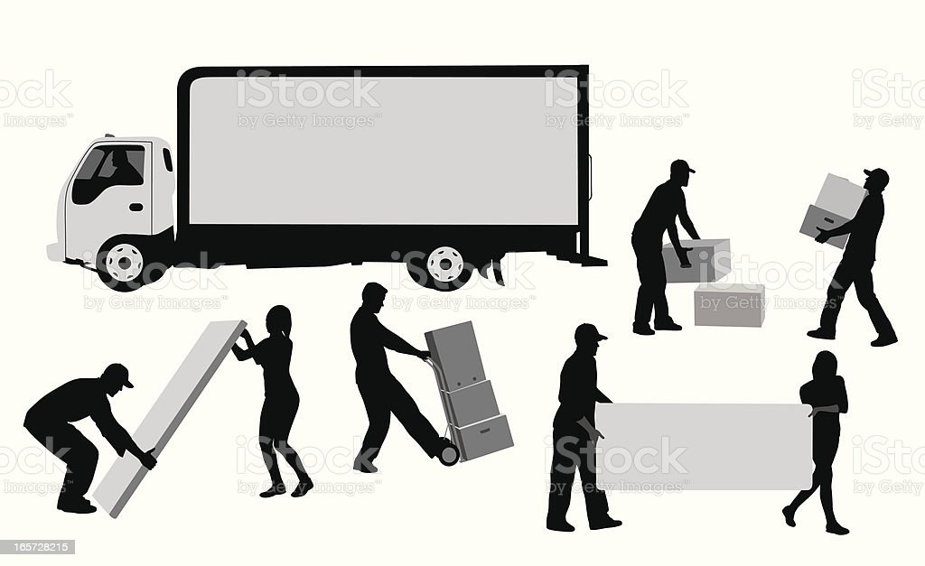 Moving Away Vector Silhouette vector art illustration