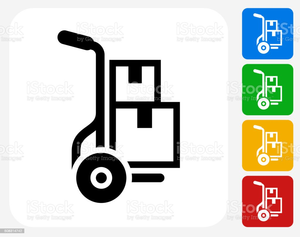 Moving Boxes Icon Flat Graphic Design vector art illustration