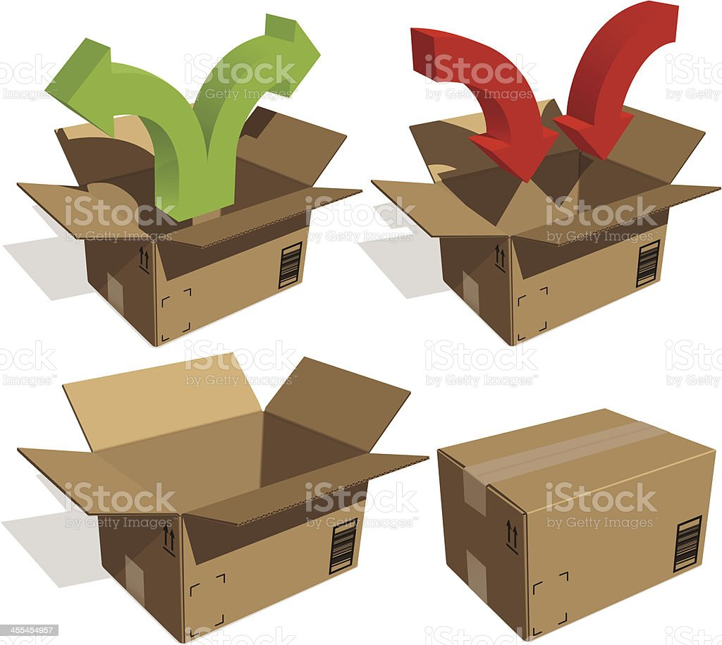 Moving boxes vector on transparent background royalty-free stock vector art