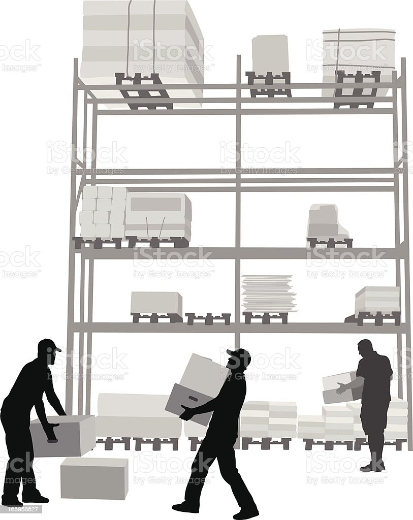 Moving Boxes Vector Silhouette royalty-free stock vector art