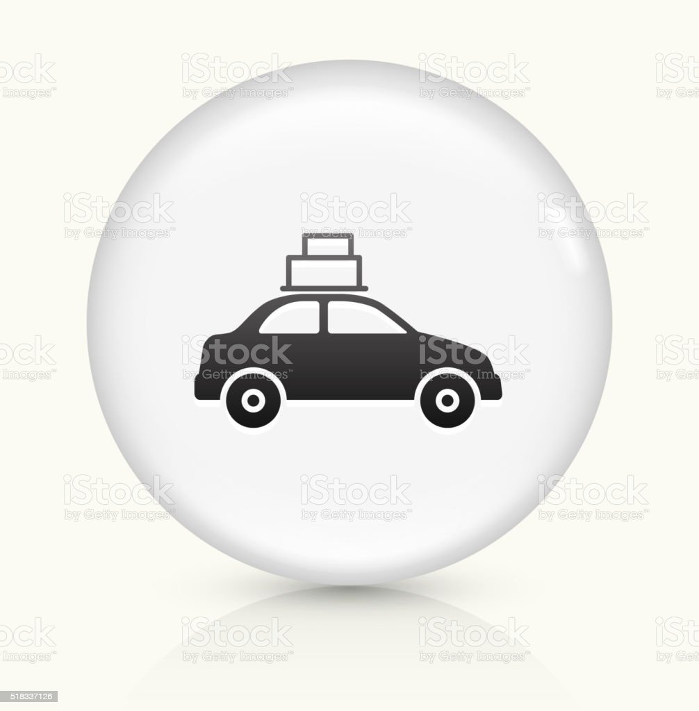 Moving Car icon on white round vector button vector art illustration
