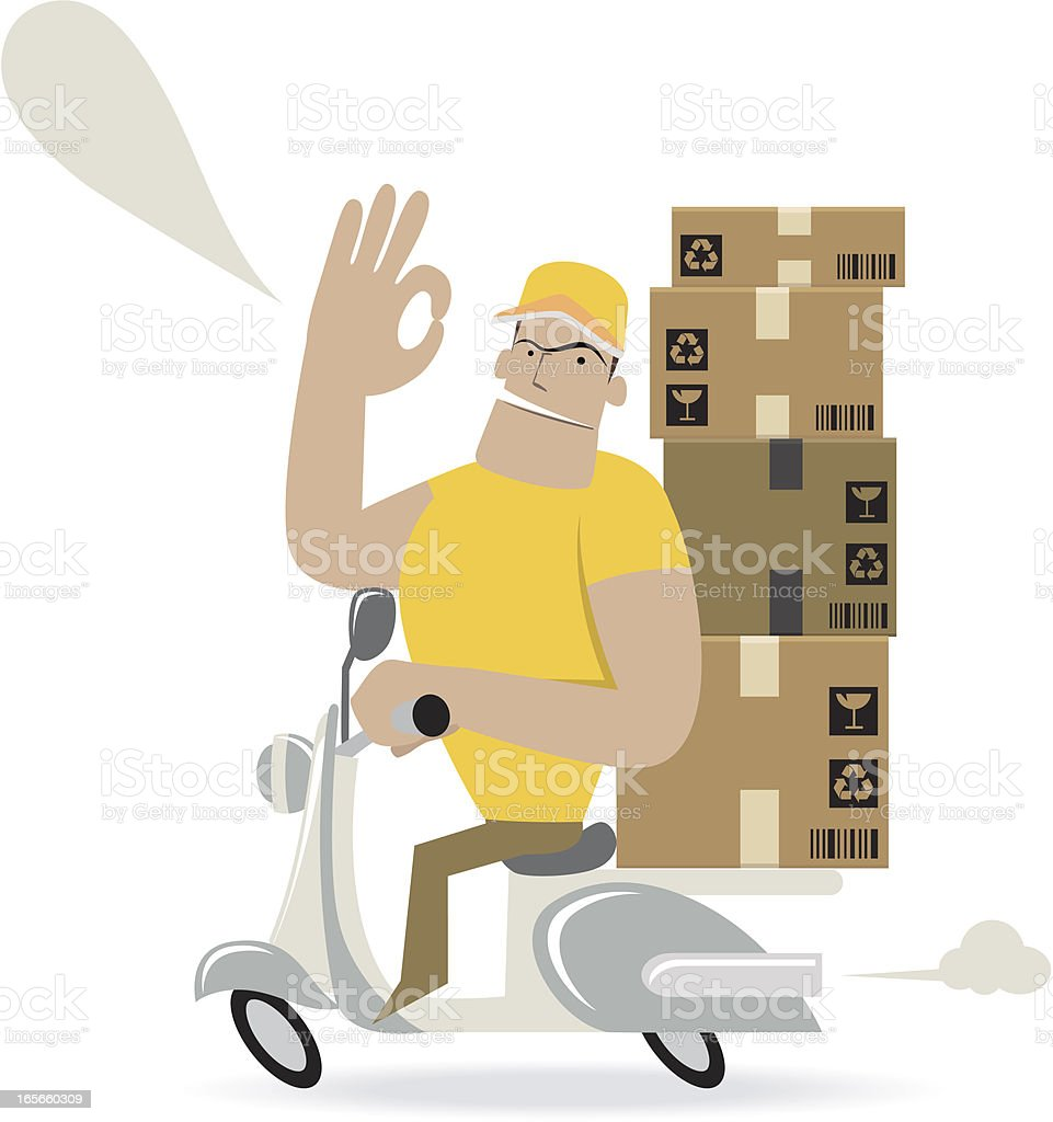Moving Carton Boxes With A Motorcycle ( Delivering ) and showing ok royalty-free stock vector art
