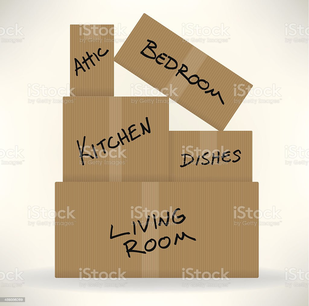 Moving Day - Cardboard Boxes vector art illustration