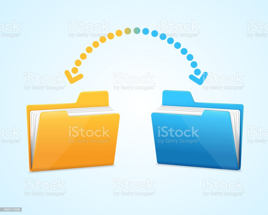 Moving documents between two folders vector art illustration