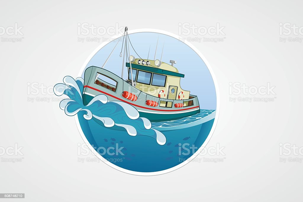 Moving fishing boat. Deep sea with wave. vector computer icon vector art illustration