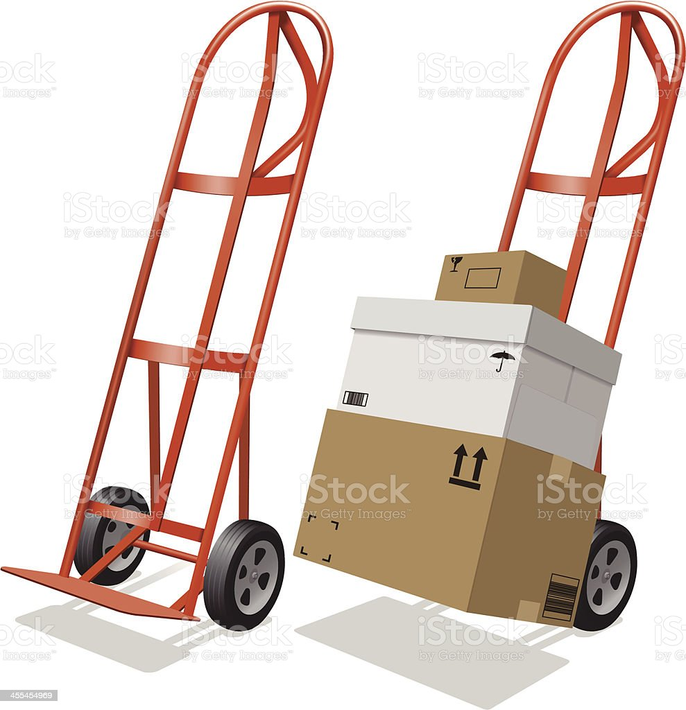 Moving Hand Truck and Shipping Boxes royalty-free stock vector art