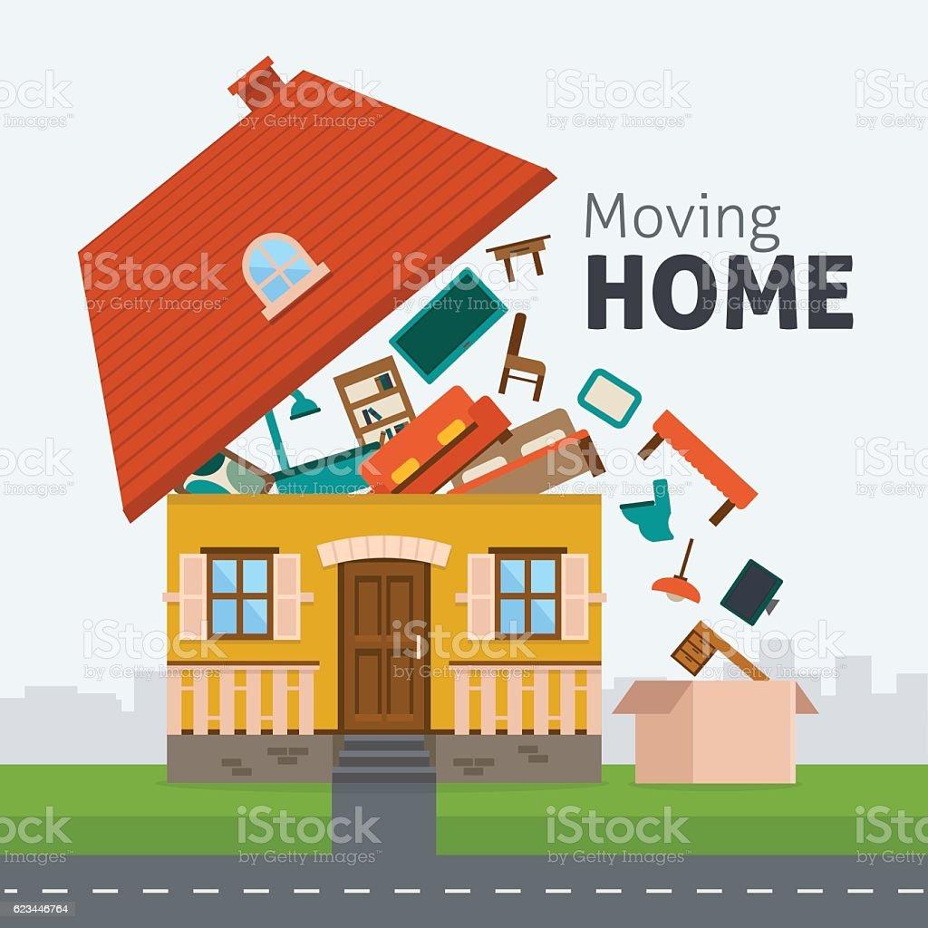Moving home transportation vector art illustration