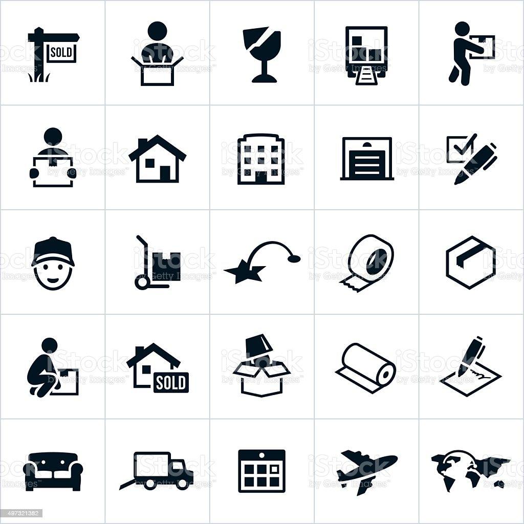 Moving Icons vector art illustration