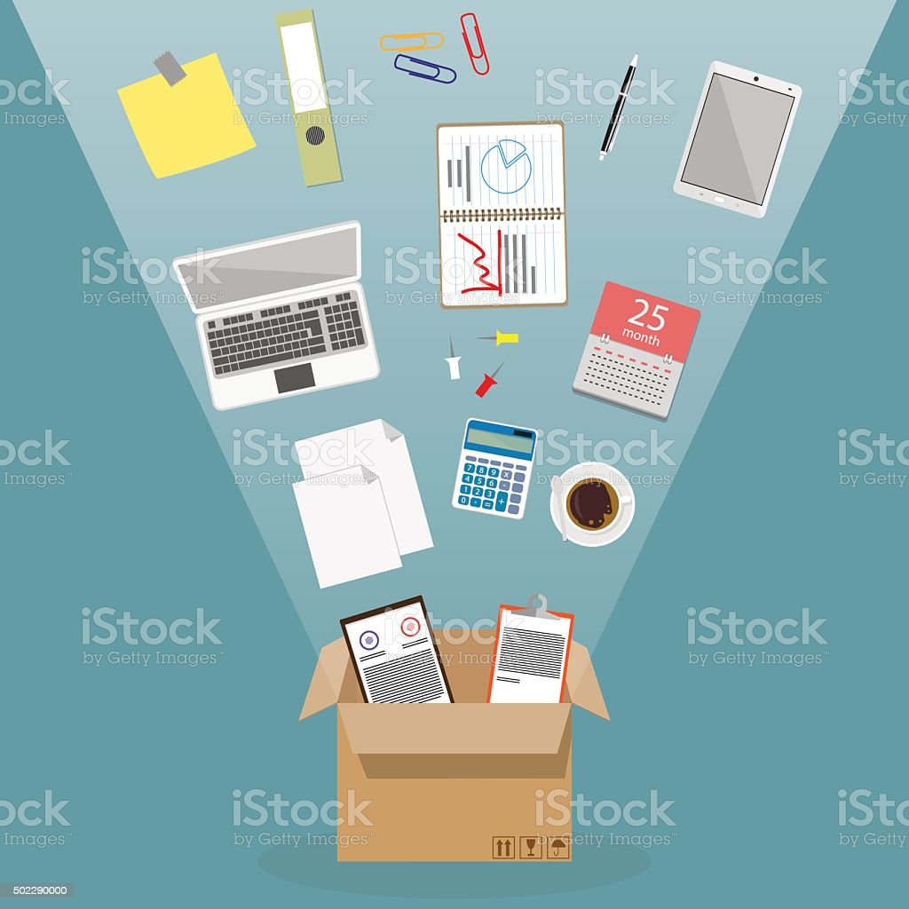 Moving into a new office vector art illustration