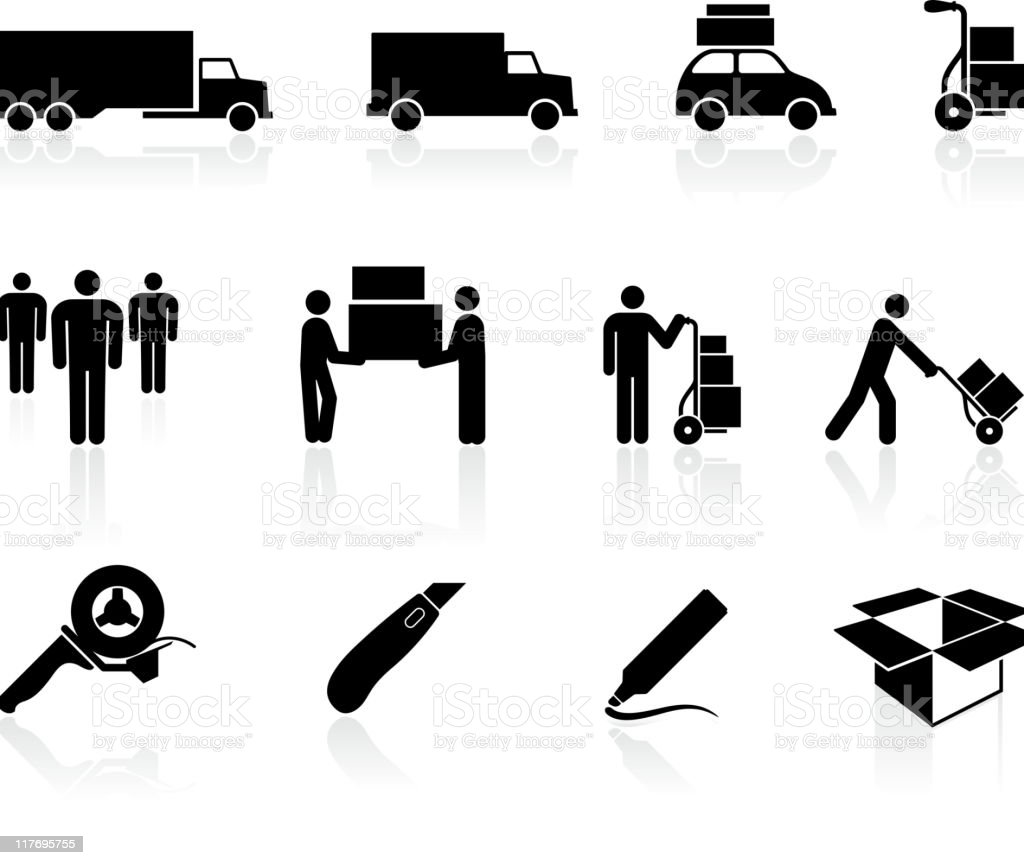 moving movers black and white royalty free vector icon set vector art illustration