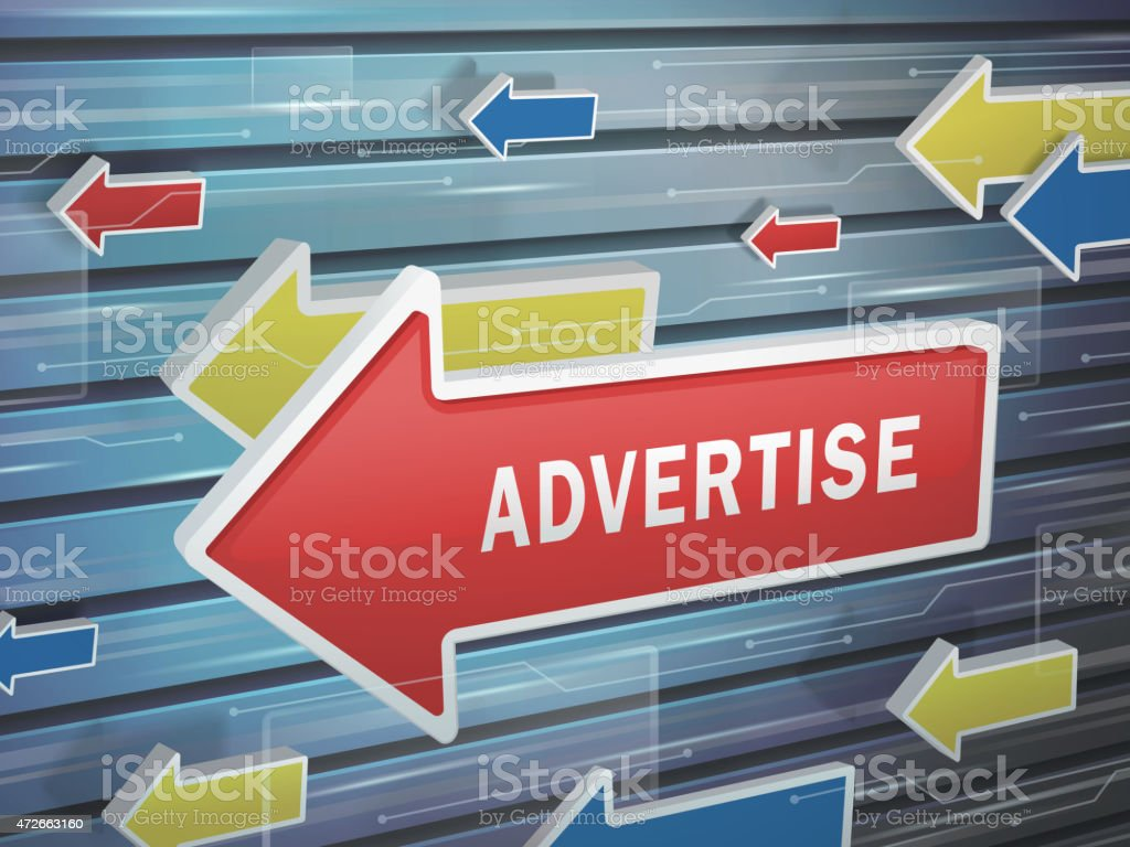 moving red arrow of advertise word vector art illustration