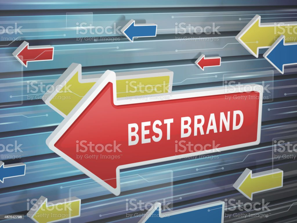 moving red arrow of best brand words vector art illustration