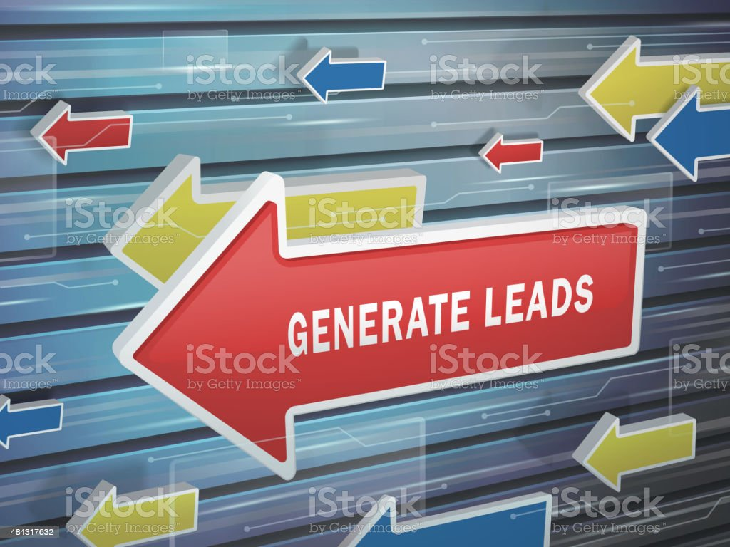moving red arrow of generate leads words vector art illustration