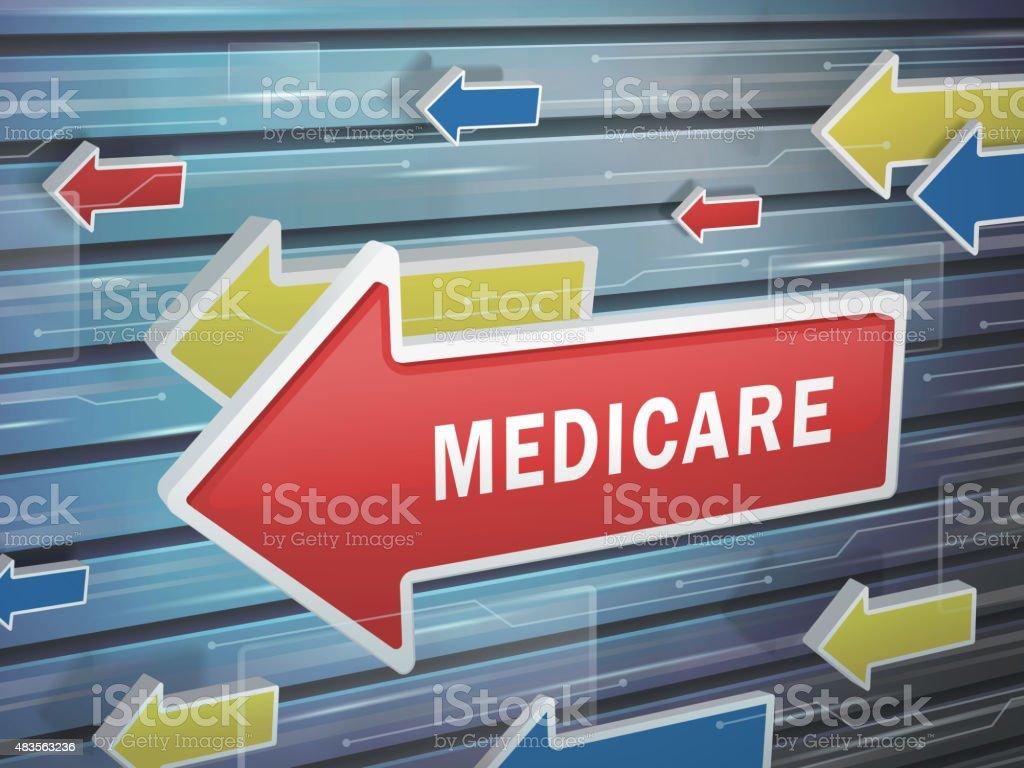 moving red arrow of medicare word vector art illustration