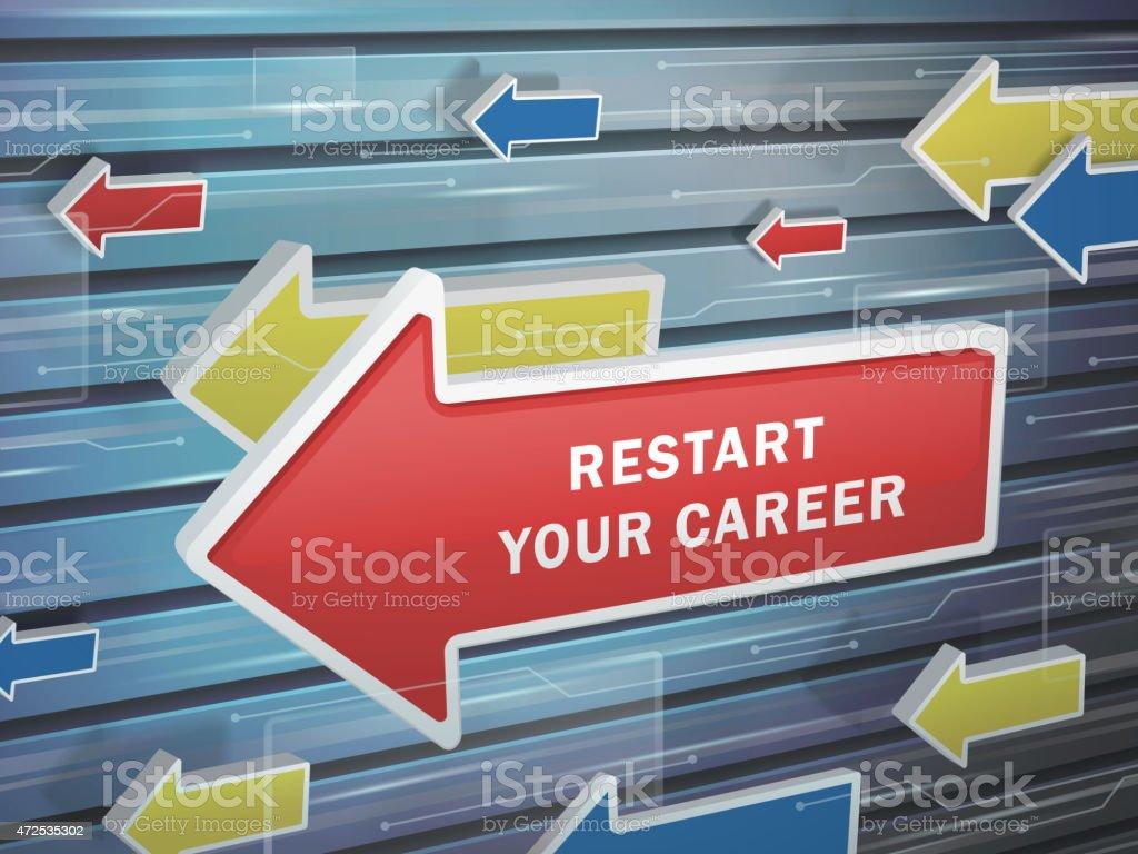 moving red arrow of restart your career words vector art illustration