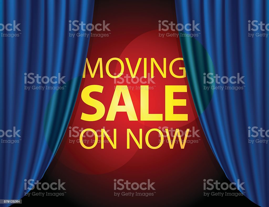 Moving Sale On Now info on stage with blue curtain vector art illustration