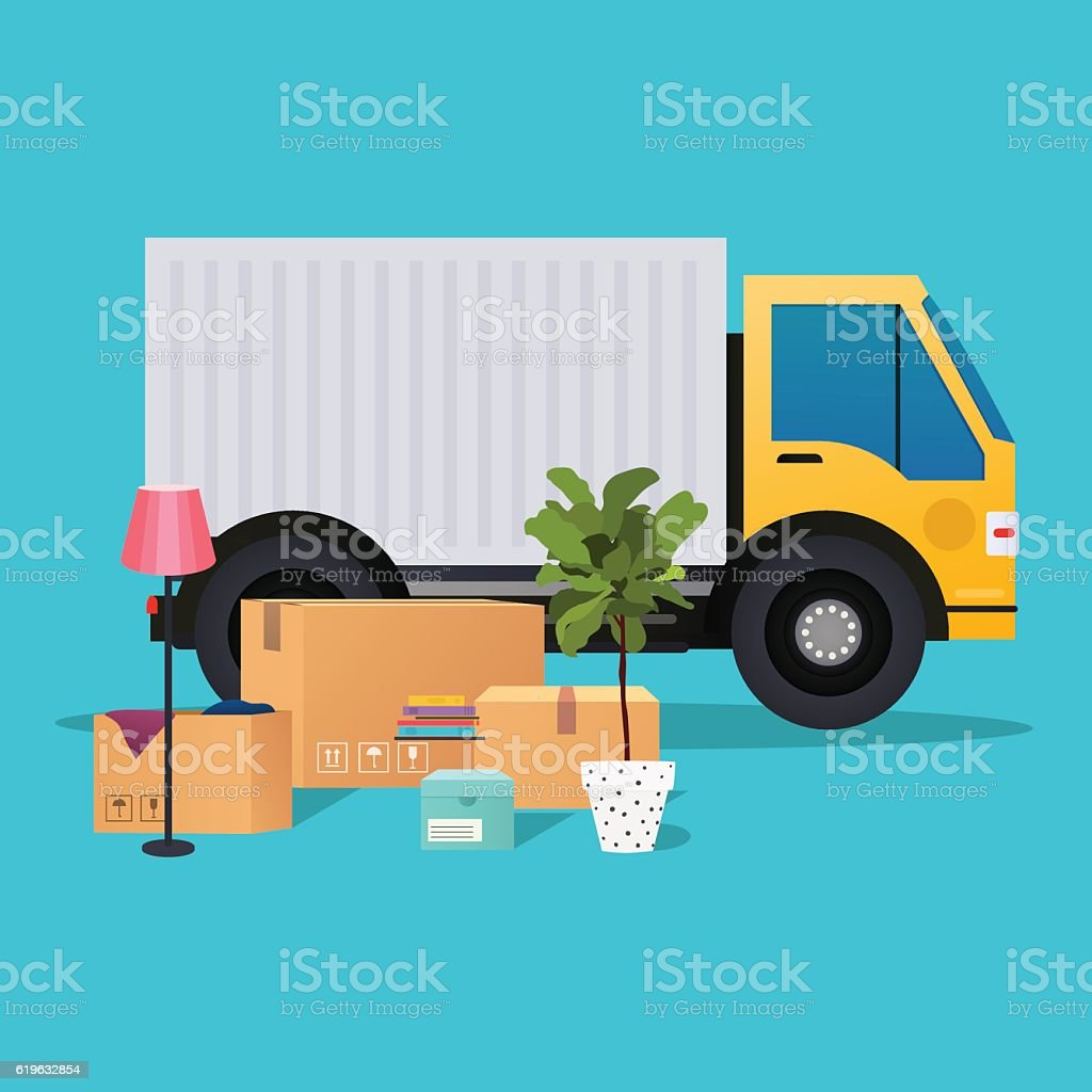 Moving truck and cardboard boxes. Moving House. Transport compan vector art illustration