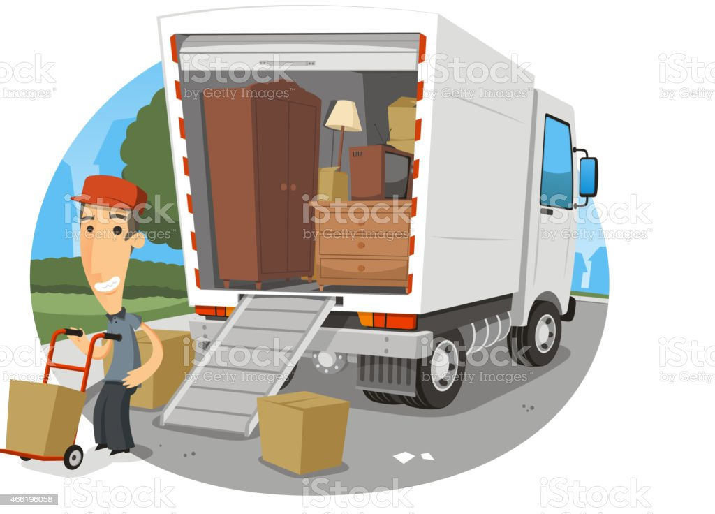 Moving truck Lorry full of possessions with happy worker vector art illustration