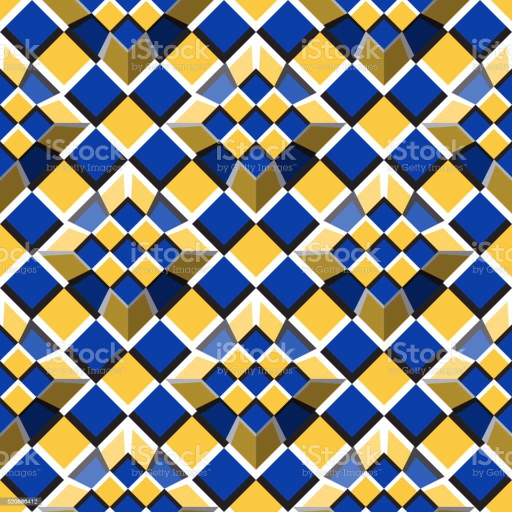 Moving truncated pyramids on a checkered surface optical illusion vector art illustration