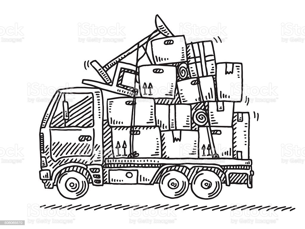 Moving Van Stacked Boxes Drawing vector art illustration