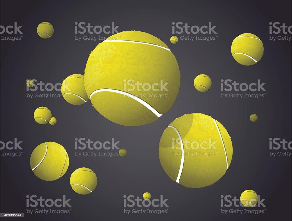 MovingTennis Balls flying, falling isolated on dark background. vector art illustration