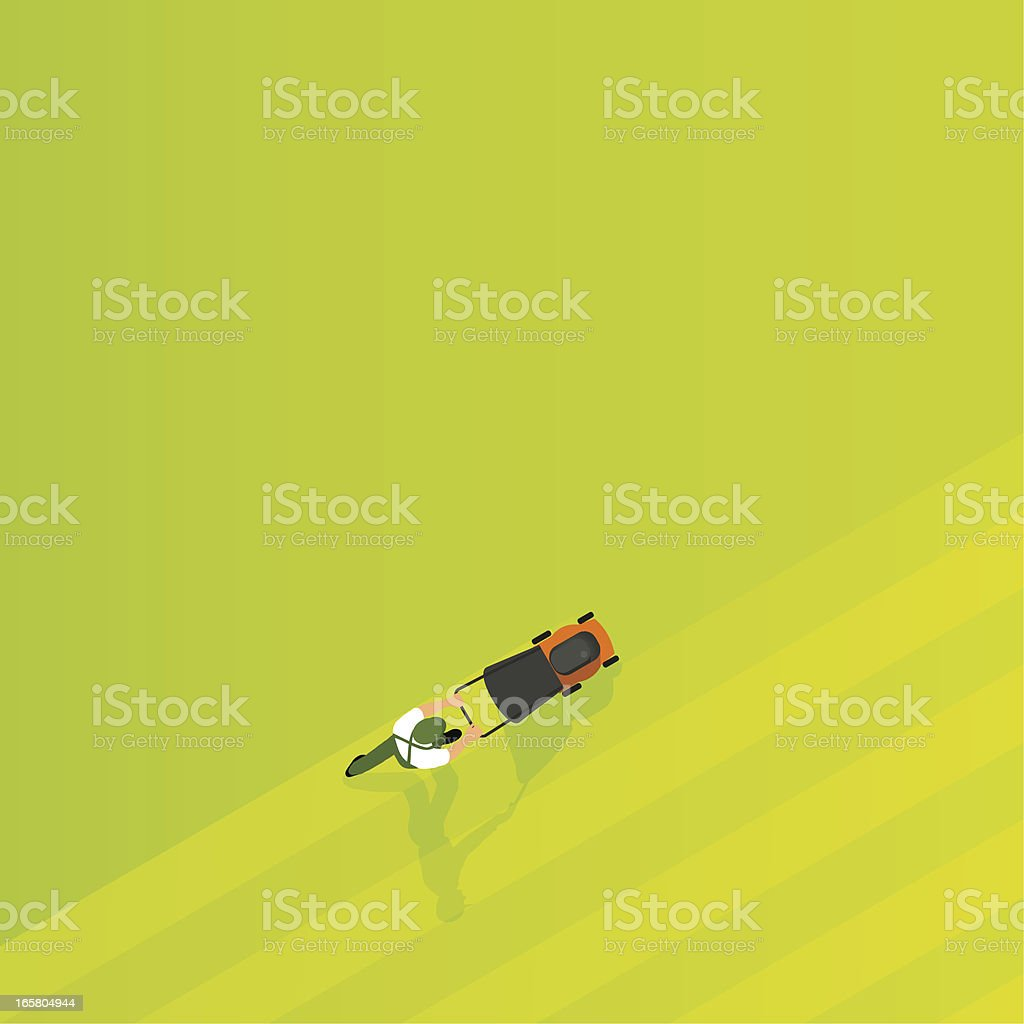 mowing the lawn vector art illustration