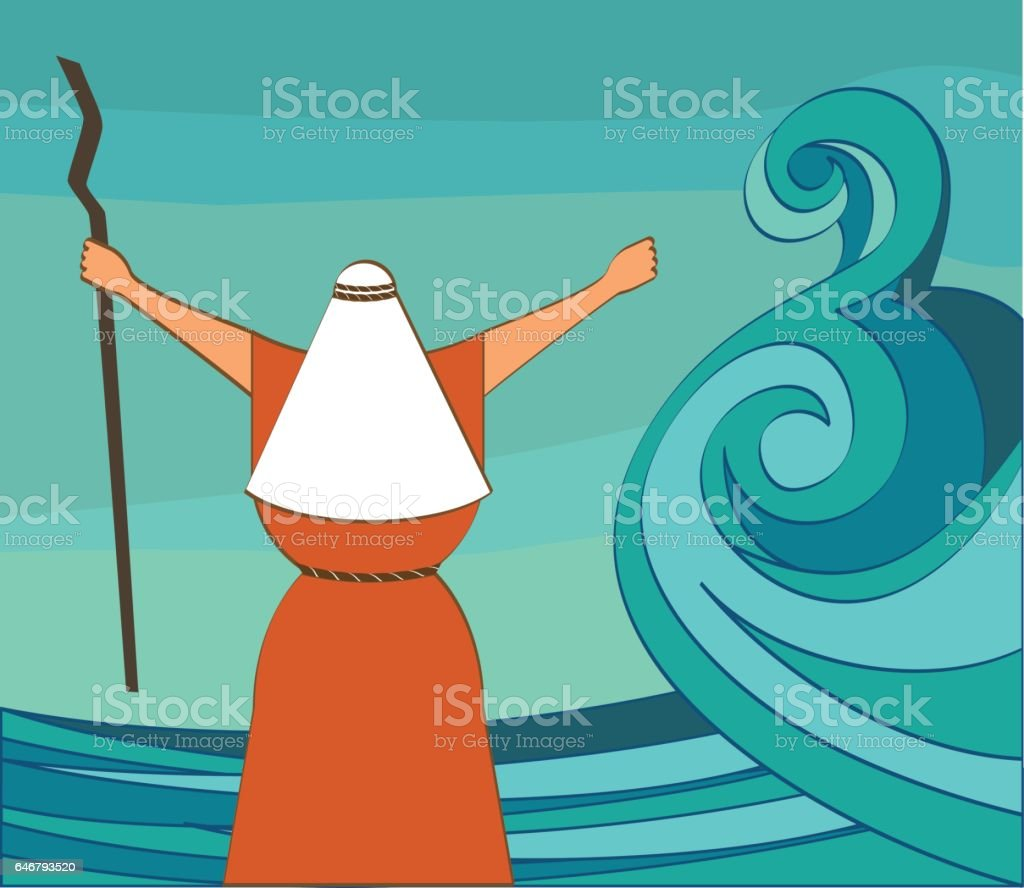 Mozes splitting the red sea and ordering let my people go out of Egypt. vector and illustration vector art illustration