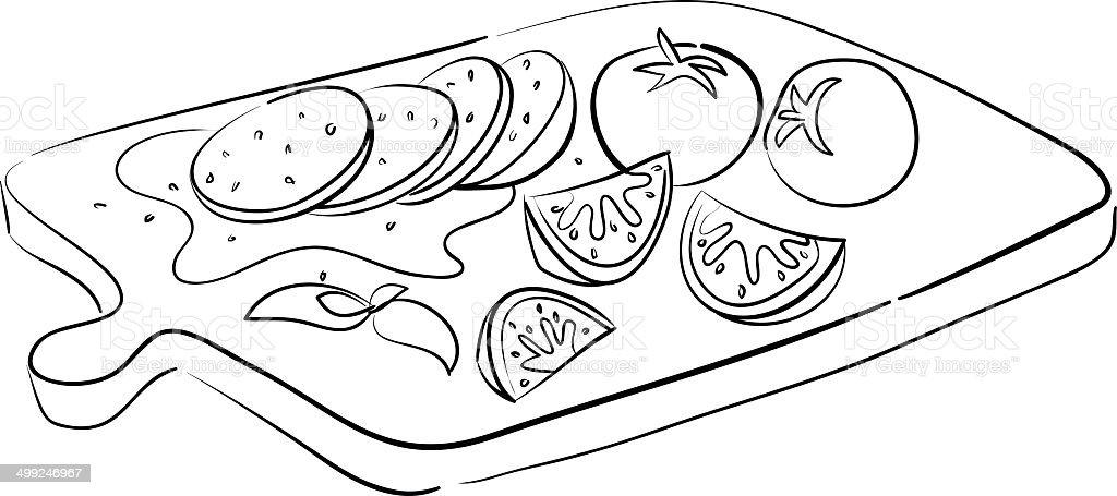 mozzarella and tomatoes vector art illustration