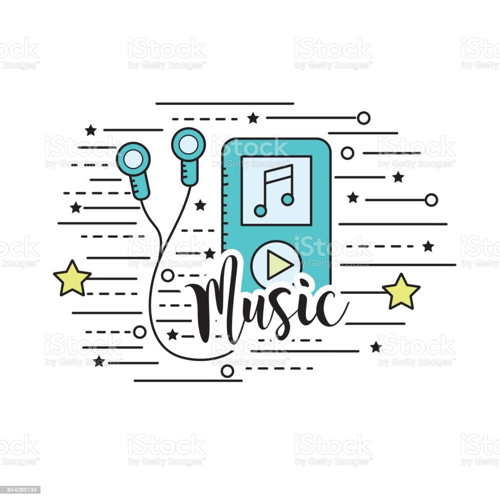 mp3 with headphones to listen and play music vector art illustration