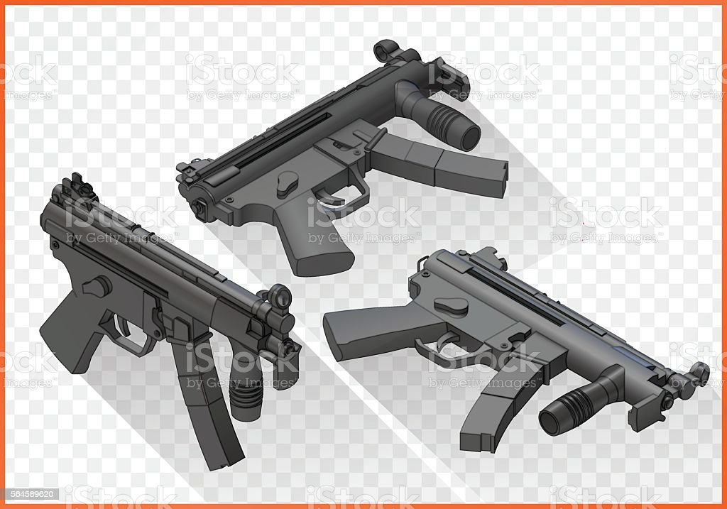 mp5 submachine gun isometric vector art illustration