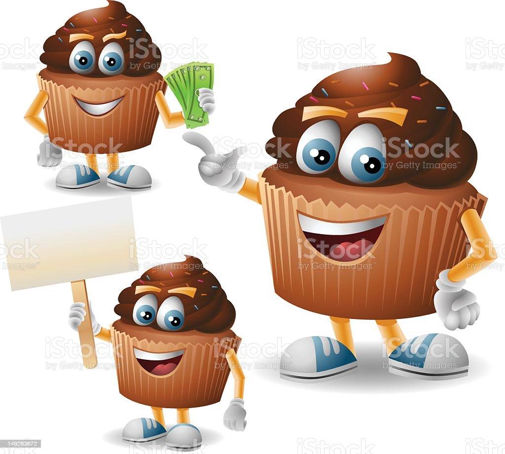 Mr. Choco Cupcake: 3 in 1 vector art illustration