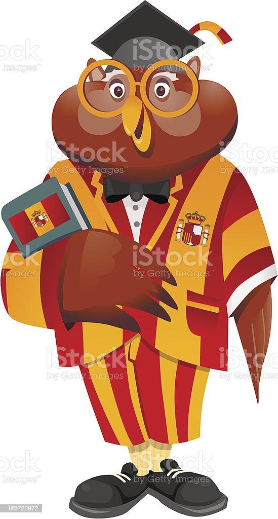 Mr. Owl Spanish Teacher royalty-free stock vector art