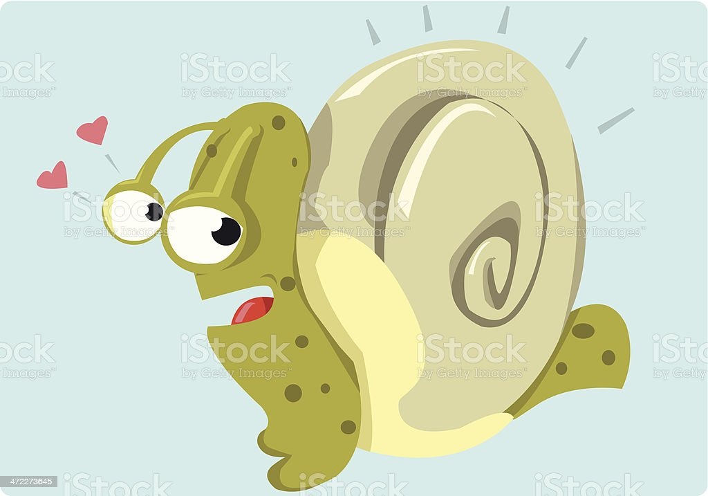 Mr. Snail loves his house royalty-free stock vector art