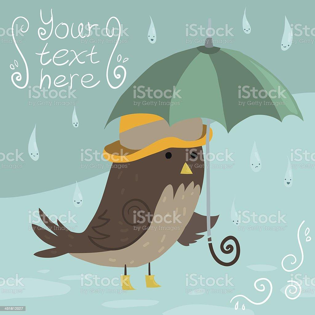 Mr Sparrow with Umbrella royalty-free stock vector art