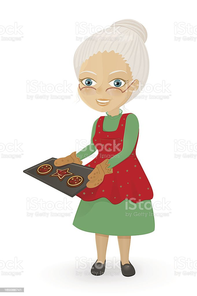 Mrs. Claus baking Christmas cookies vector art illustration