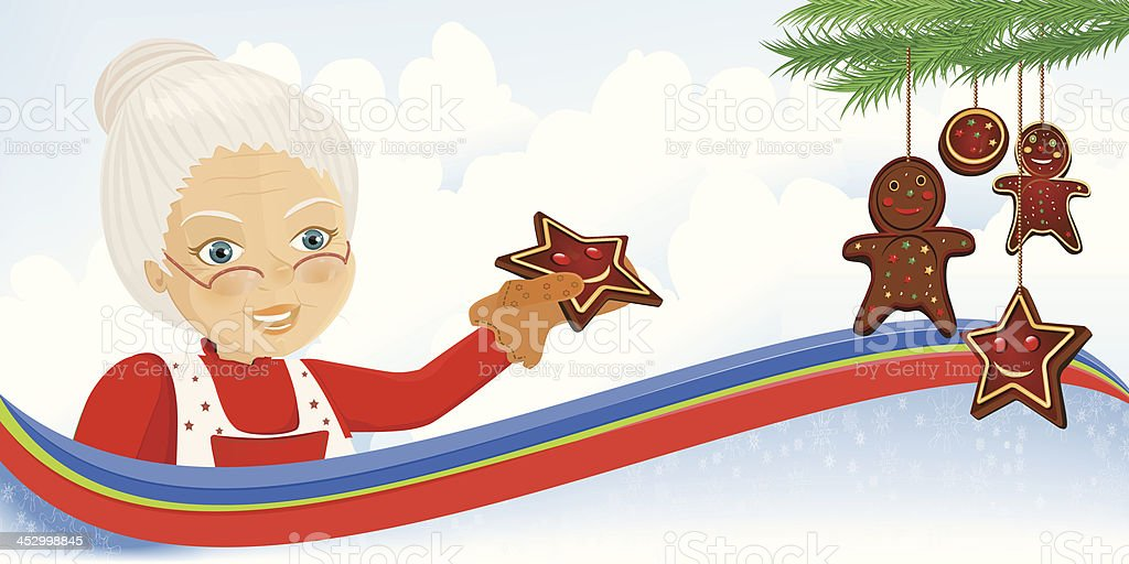 Mrs. Claus holding gingerbread cake royalty-free stock vector art