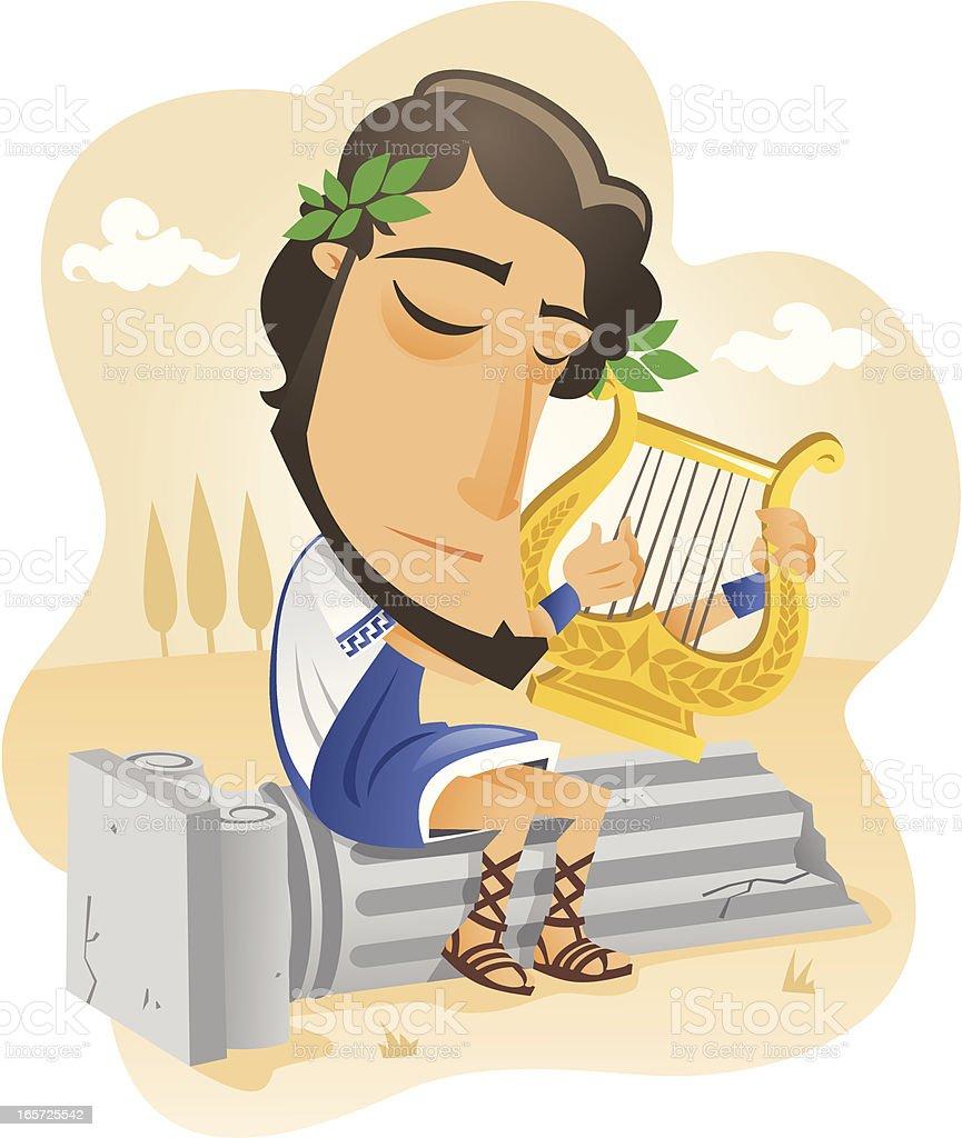 M?sico griego tocando la lira vector art illustration