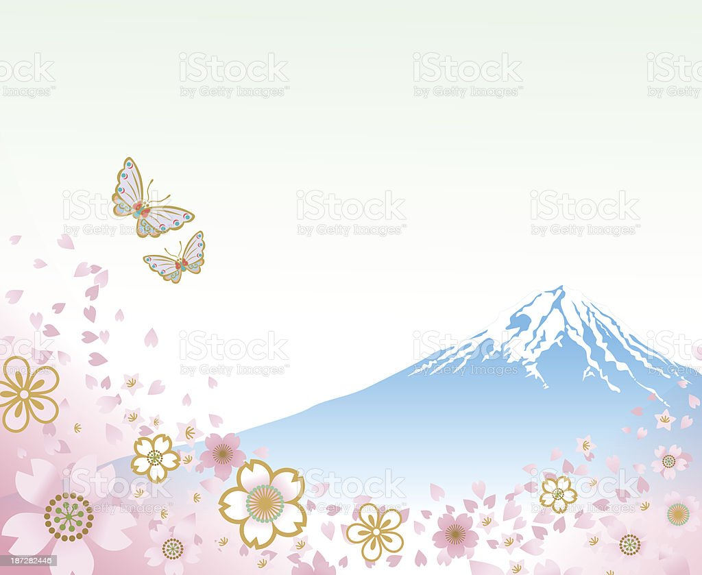 Mt. Fuji and Flying Butterflies- EPS10 vector art illustration