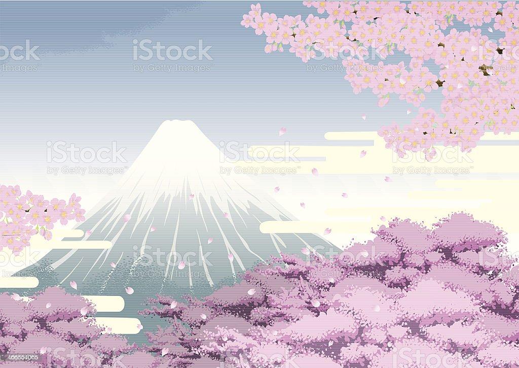 MtFuji&CherryBlossom vector art illustration