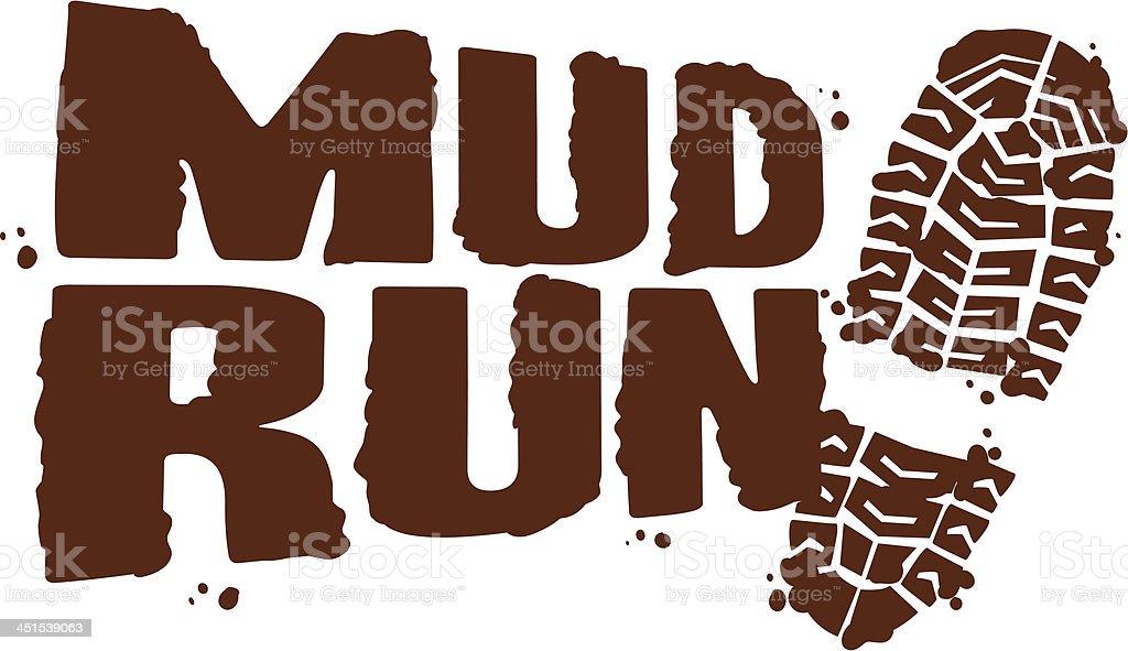 mud run footprint vector art illustration