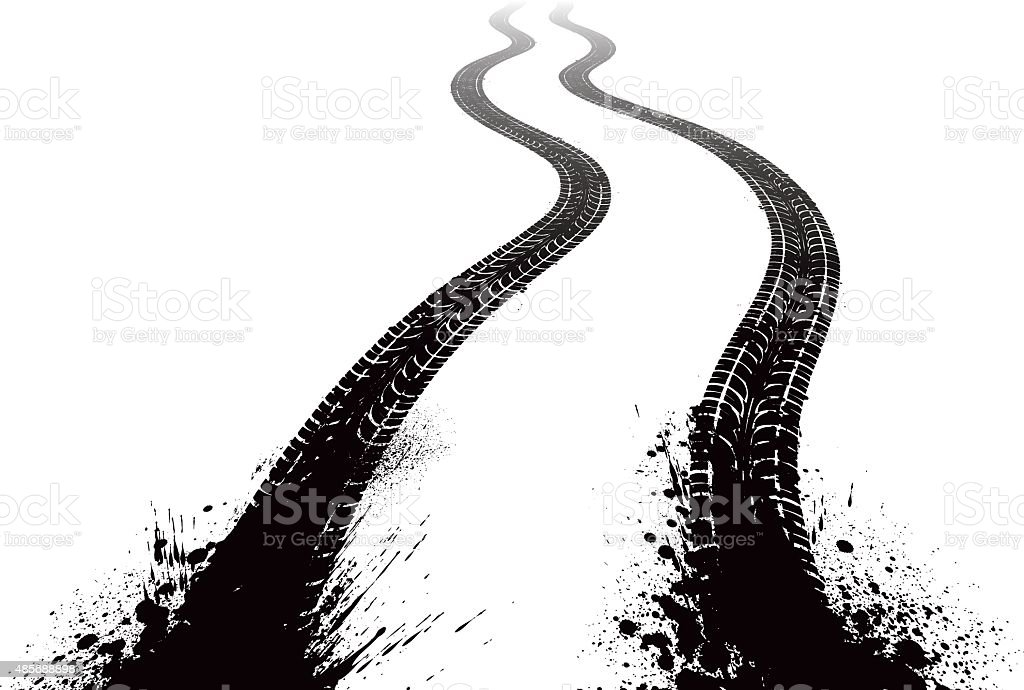 Muddy Tire Tracks vector art illustration
