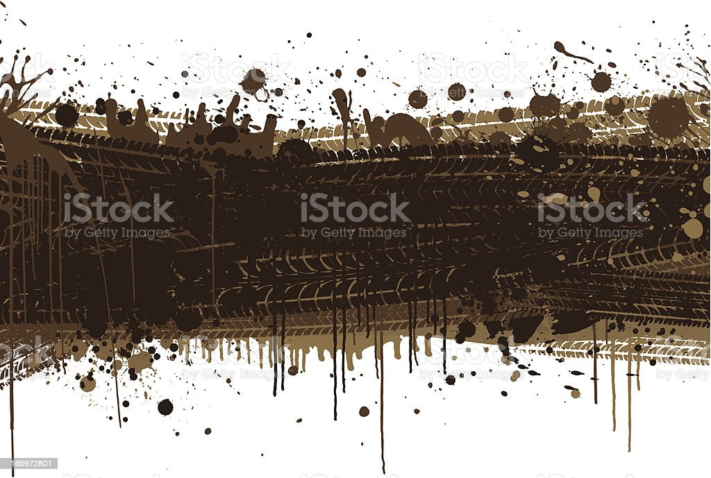 Muddy tyre background vector art illustration