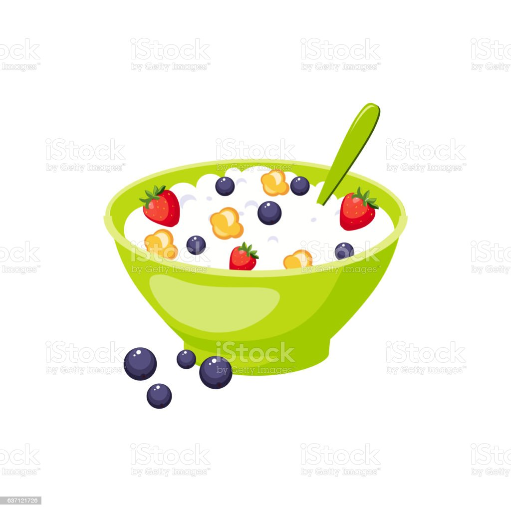 Muesli With Berry And Milk,  Based Product Isolated Icon vector art illustration
