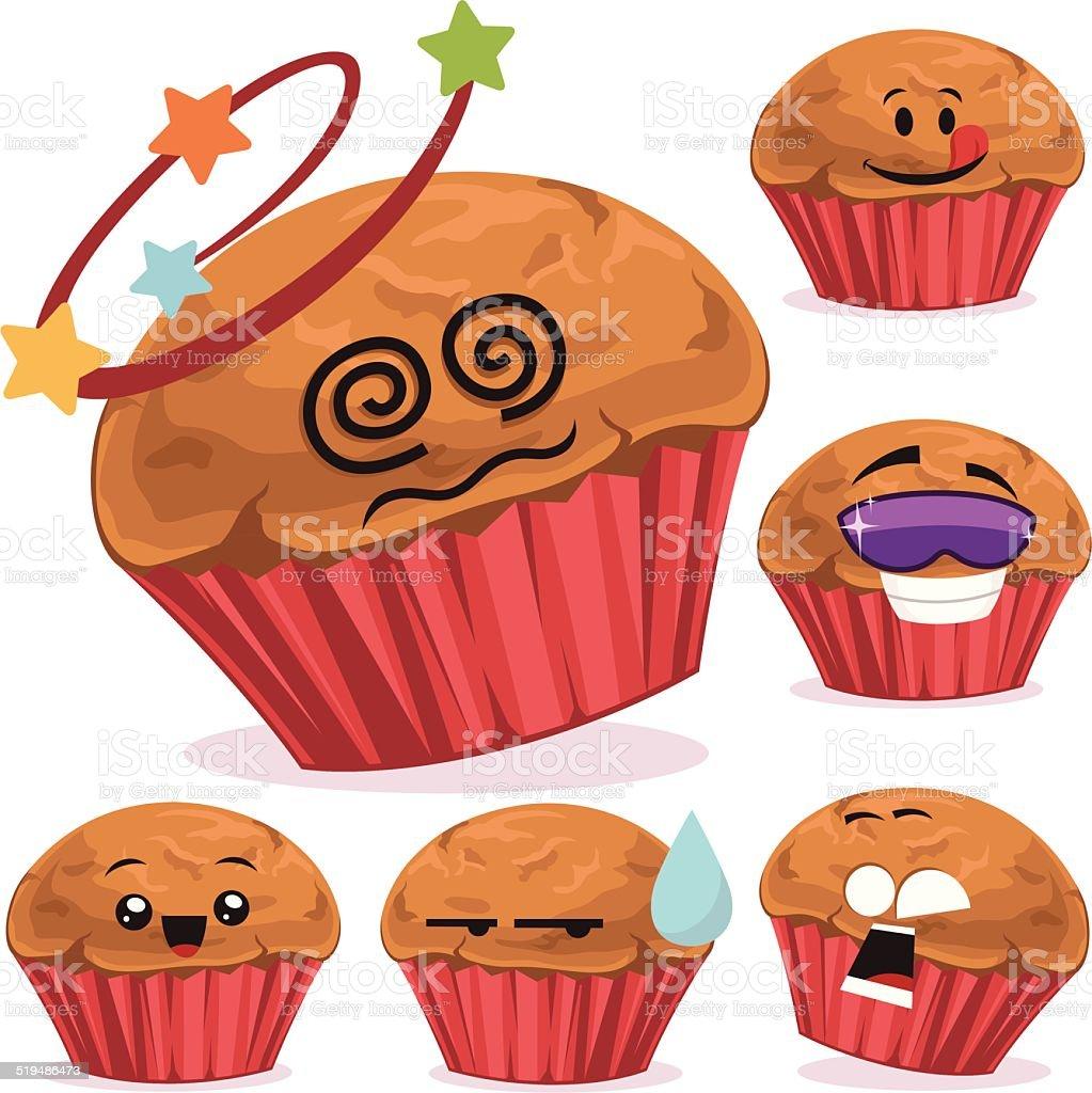Muffin Cartoon Set A vector art illustration