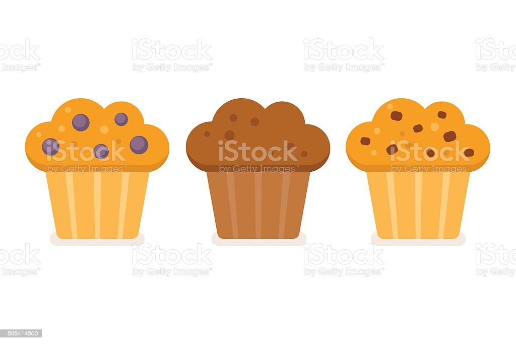 Muffin icon set vector art illustration