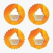 Muffin sign icon. Cupcake symbol.