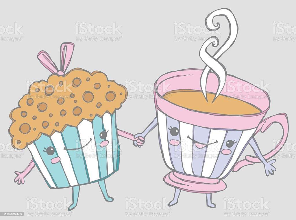 Muffin & teacup vector art illustration