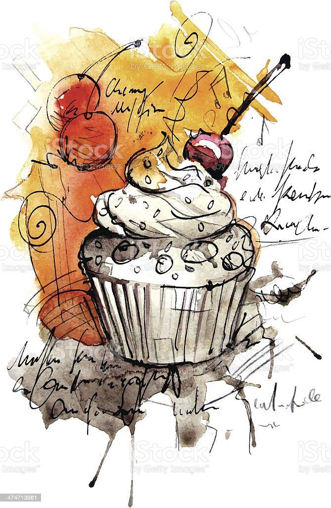 Muffin vector art illustration