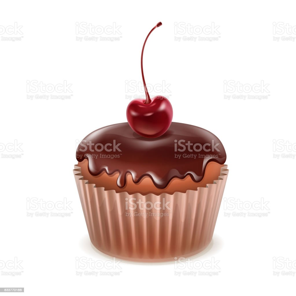 Muffin with cherry vector art illustration