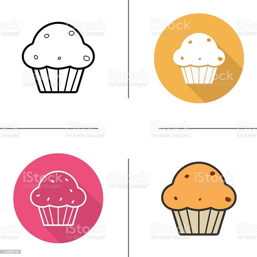 Muffin with raisins icons vector art illustration